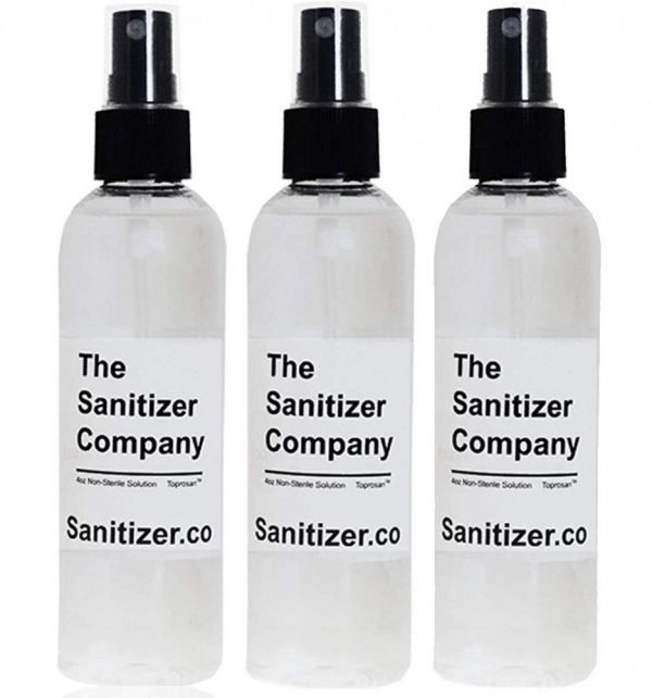 The Sanitizer Company Toprosan Vegan Organic Liquid Hand Sanitizing Cleaner Spray Bottle - Made in USA - Unscented (Three 4 ounce bottles)