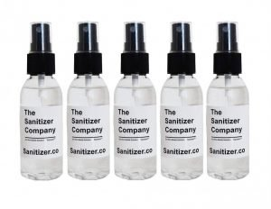 The Sanitizer Company Toprosan Vegan Organic Liquid Hand Sanitizing Cleaner Spray Bottle - Made in USA - Unscented (Five 2 ounce bottles)